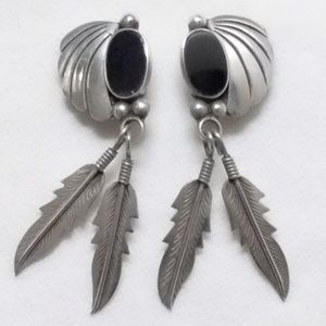 Vintage XL Sterling Taxco Onyx Feather Earrings
